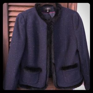 Talbots size 10 petite  blue tweed blazer